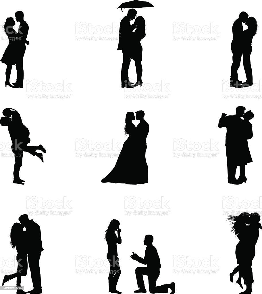 Black Vector Illustration Silhouette Couples In Love vector art illustration