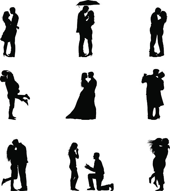 black vector illustration silhouette couples in love - couples stock illustrations, clip art, cartoons, & icons