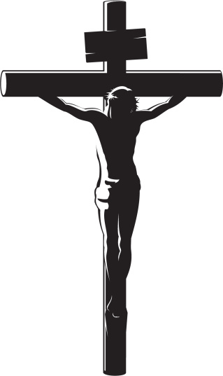 Black vector image of the Crucifixion of Christ on white
