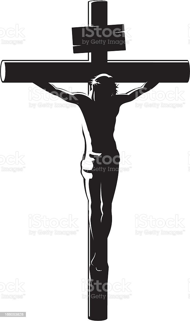 Black vector image of the Crucifixion of Christ on white vector art illustration