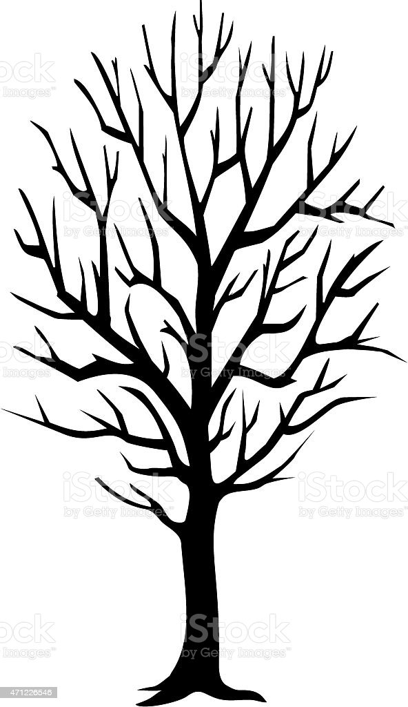 Black vector image of tree with no leaves vector art illustration