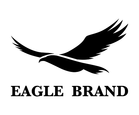 Black vector logo of eagle that is flying.