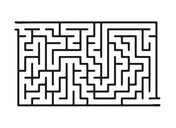 schwarze vektor-labyrinth - labyrinthgarten stock-grafiken, -clipart, -cartoons und -symbole
