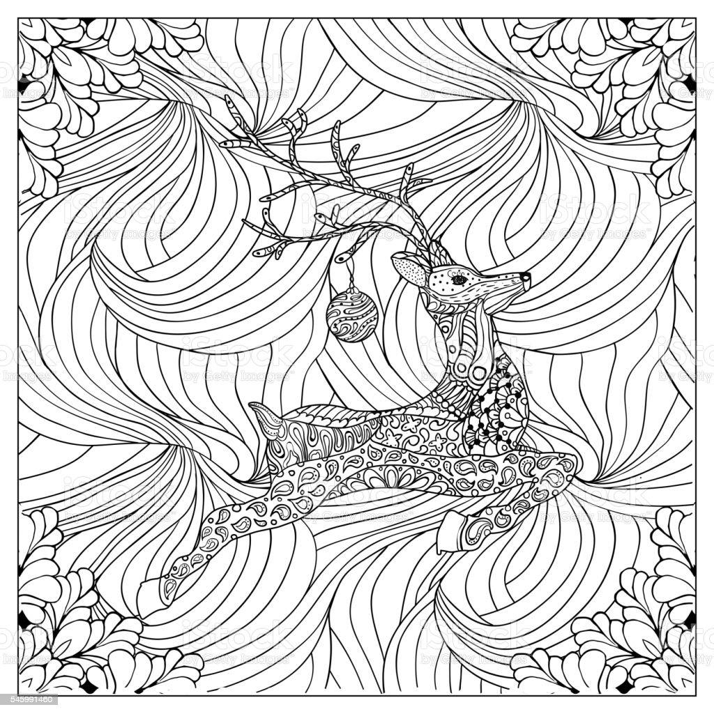 Black vector mono color illustration.Adult Coloring book page design vector art illustration