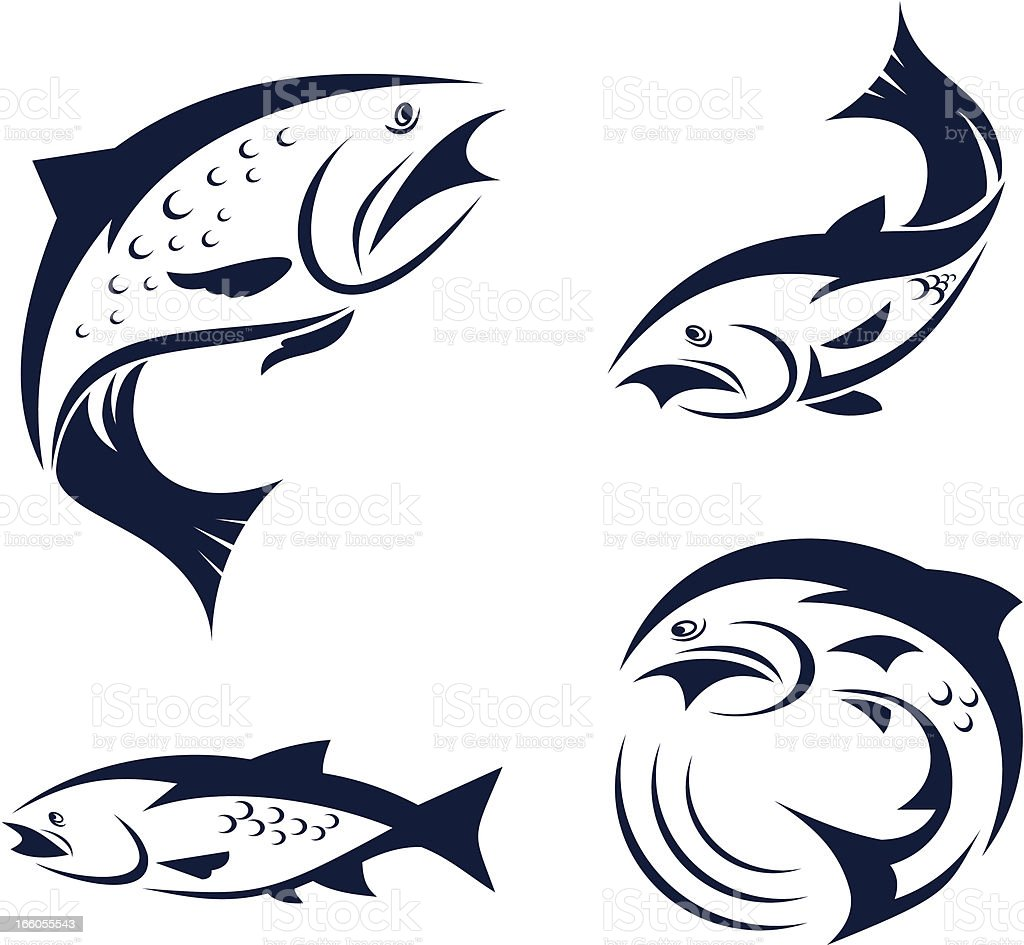 Black vector of salmons on white background royalty-free stock vector art