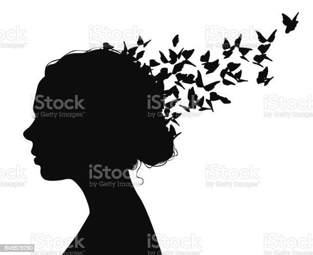 Black vector portrait of a woman with butterflies flying from her vector id845829290?b=1&k=6&m=845829290&s=612x612&h=fjf1thu6ctxcoxszqqqafz3w etqenrbhxlx6qsryqg=