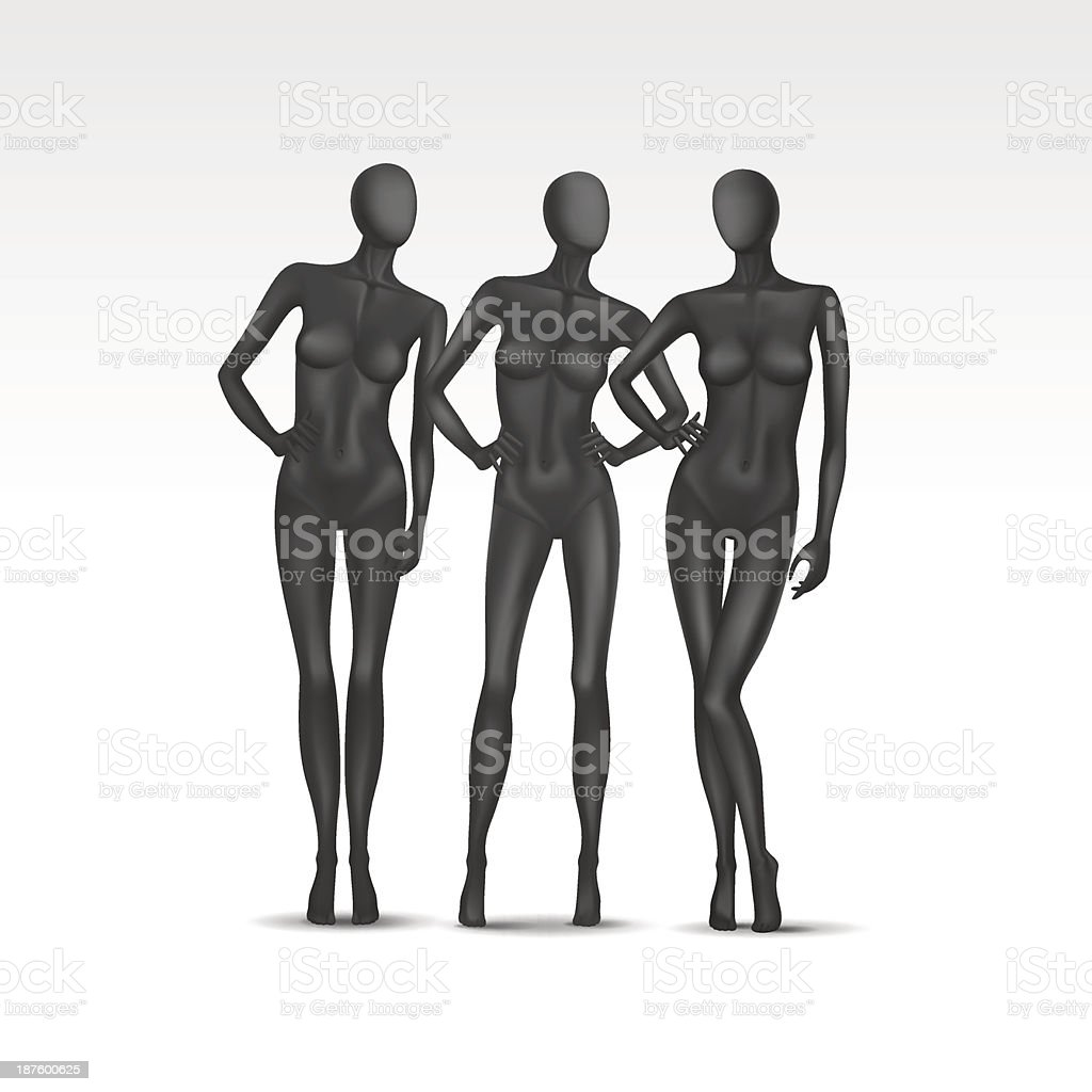 Black vector set of female mannequins on a white background royalty-free stock vector art