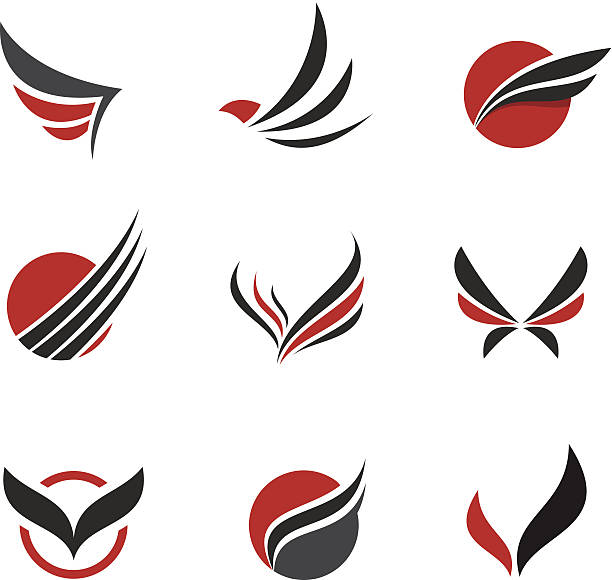 black vector set of wing symbols - commercial airplane stock illustrations