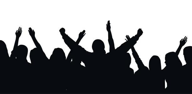ilustrações de stock, clip art, desenhos animados e ícones de black vector silhouette of cheering crowd isolated on white background - festival, sport, party - soccer supporter portrait