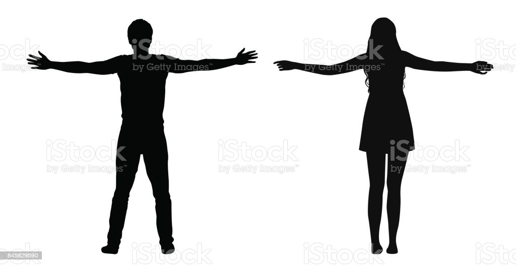 Black vector silhouettes of woman and man standing with spread arms isolated on white background