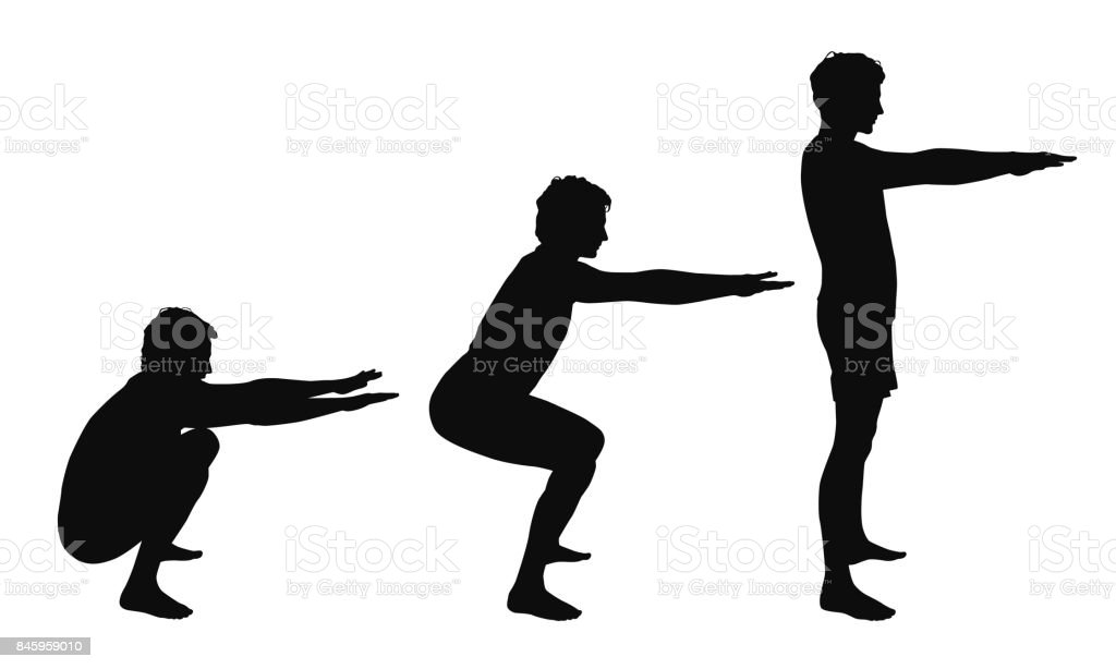 Black vector silhouettes of young man showing right squat positions isolated on white background vector art illustration