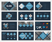 Black vector slides with blue rhombuses for annual business reports. Templates for flyers and banners, advertising. Set
