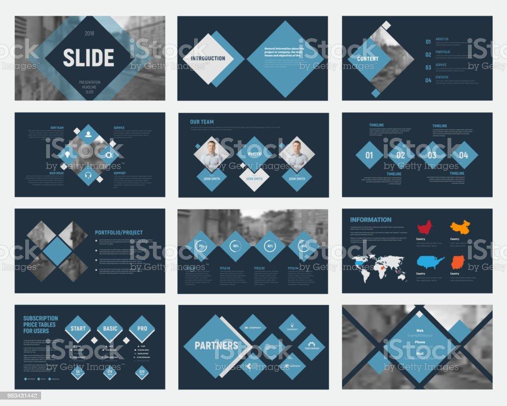 Schwarzen Vektor Folien mit blauen Rauten für die jährlichen Geschäftsberichte. – Vektorgrafik