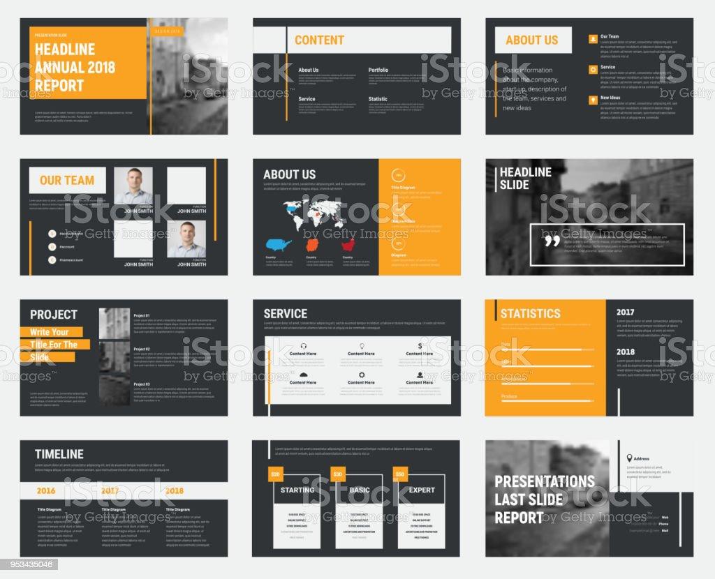 Schwarzen Vektor Folien mit grau und orange Design-Elemente und ein Ort für Fotos. – Vektorgrafik