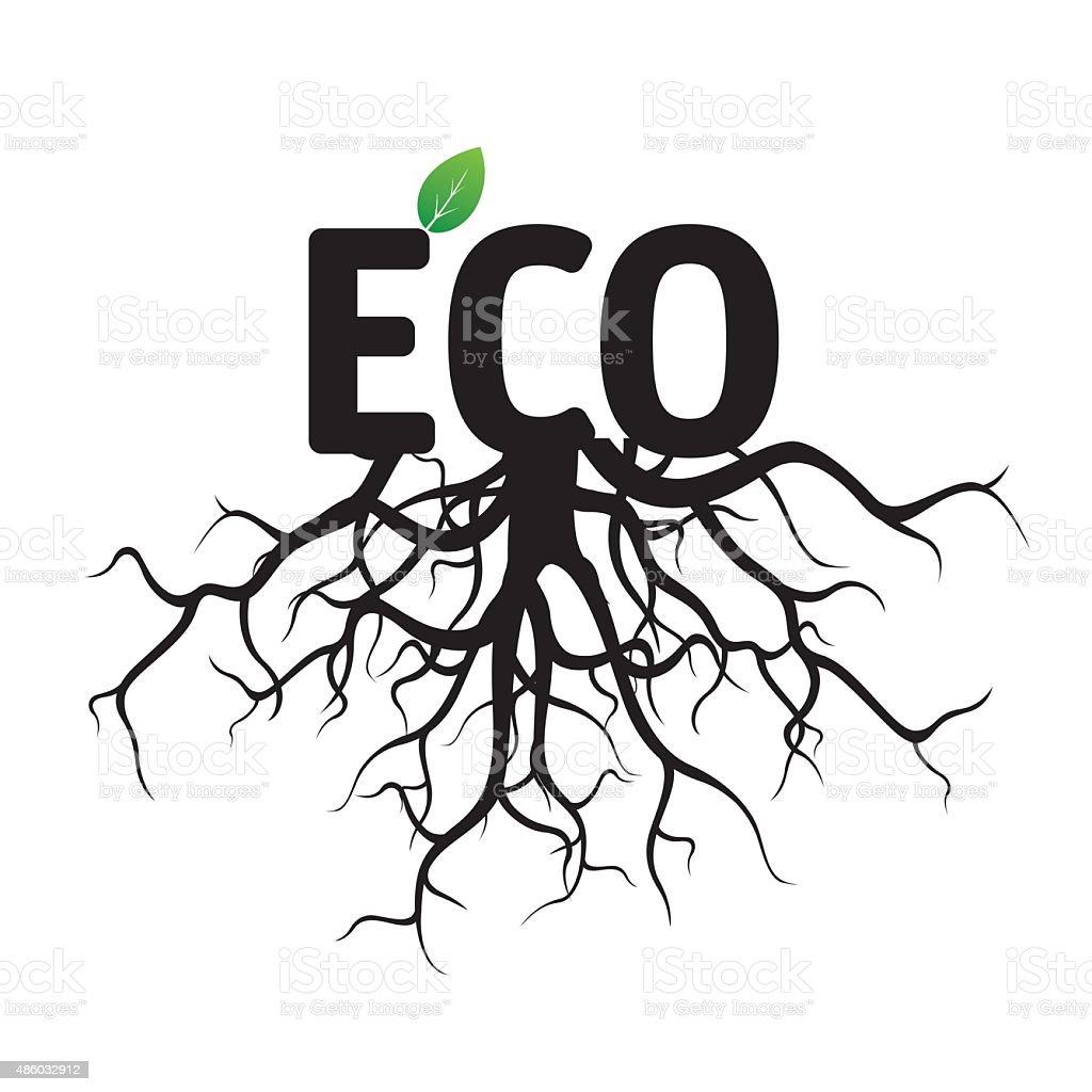 Texto de vetor preto ecológica e Roots. - ilustração de arte em vetor