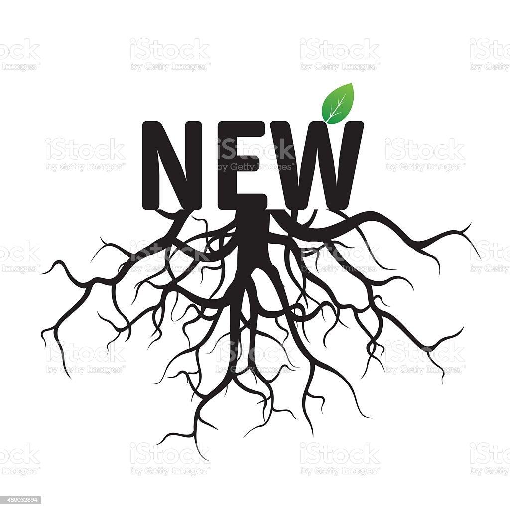 Texto de vetor preto novo e Roots. - ilustração de arte em vetor