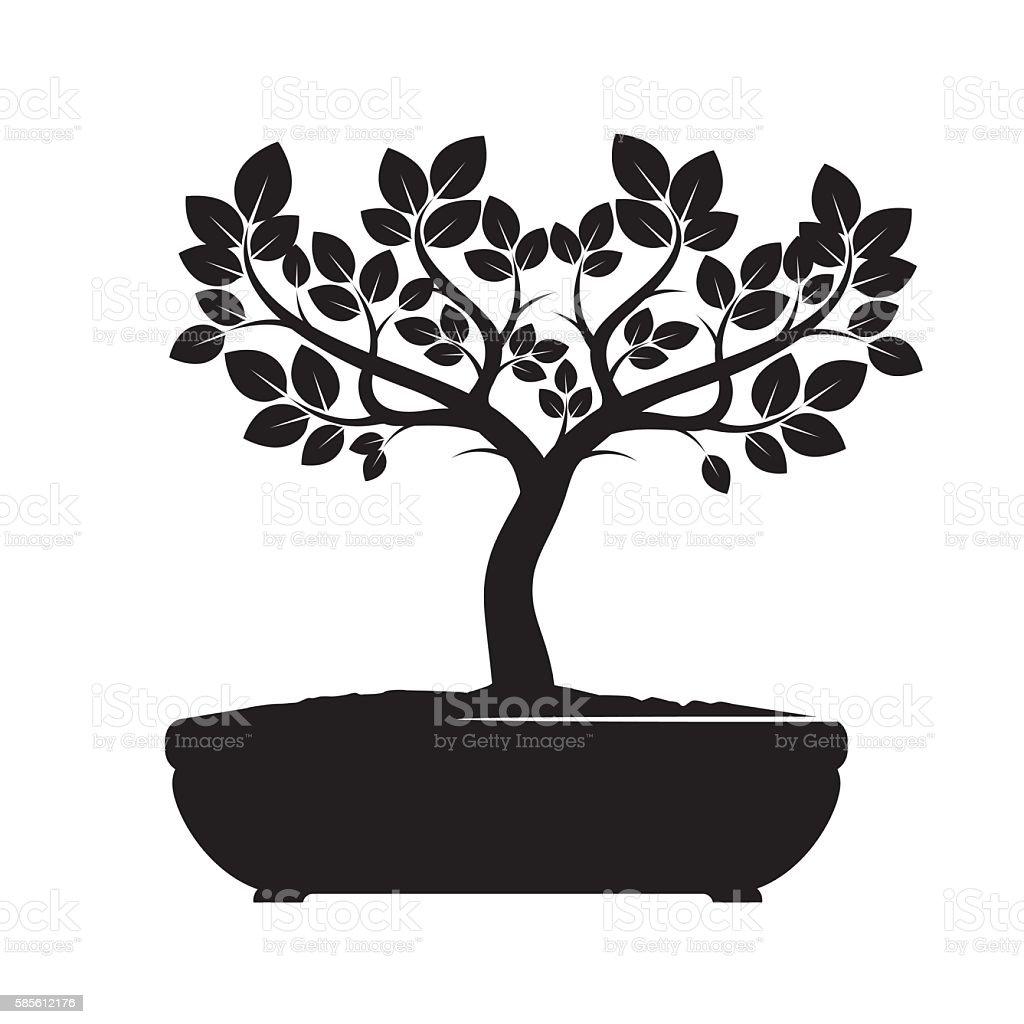 Schwarze Vektor-Baum. Abbildung eines Bonsai. – Vektorgrafik