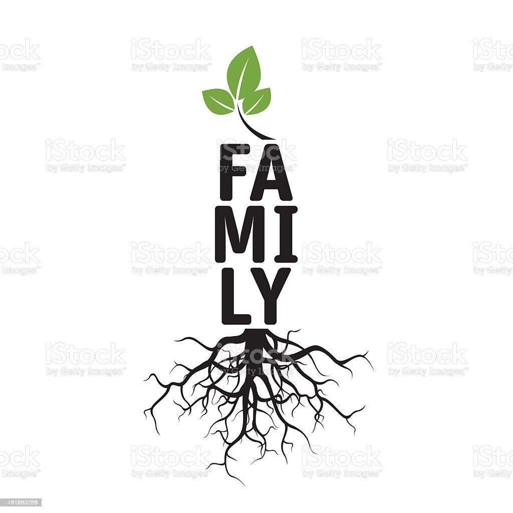Árvore de vetor preto, raízes e texto para famílias - ilustração de arte em vetor