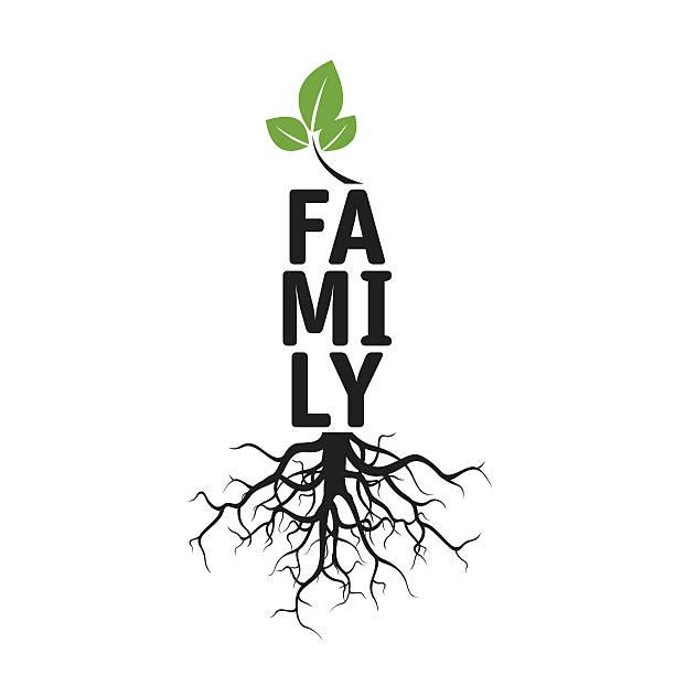 ilustrações, clipart, desenhos animados e ícones de árvore de vetor preto, raízes e texto para famílias - fontes de tatuagem