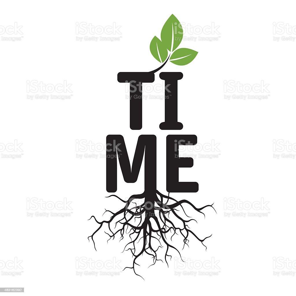 Árvore de vetor preto, raízes e texto de tempo - ilustração de arte em vetor