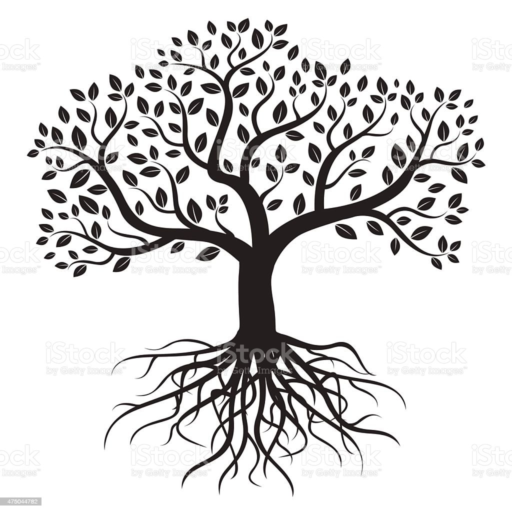 Black vector tree with roots and leafs. vector art illustration