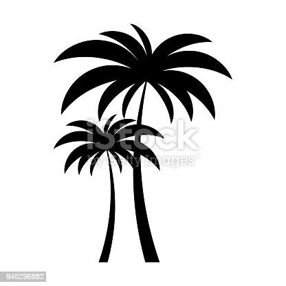 Black Vector Two Palm Tree Silhouette Icon Stock Vector Art More