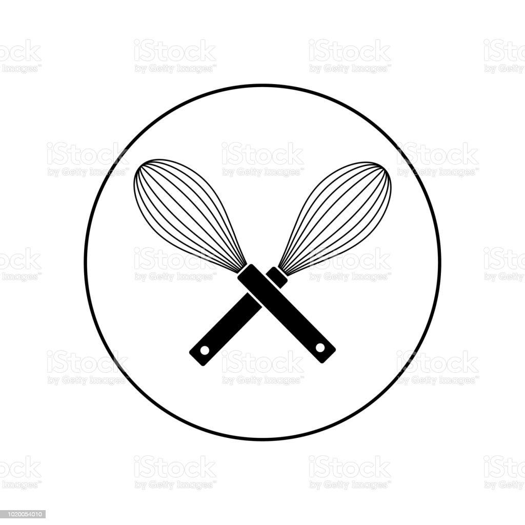 Black vector whisk icon vector art illustration