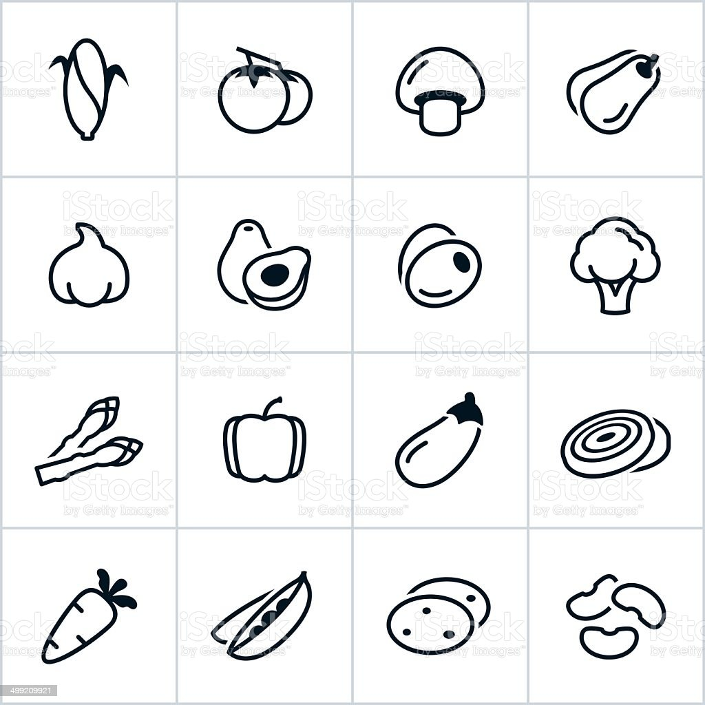 Black Vegetable Icons - Line Style vector art illustration