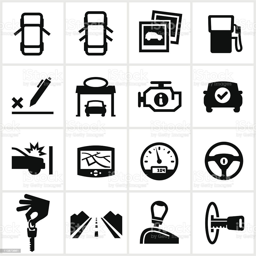 Black Vehicle Icons vector art illustration