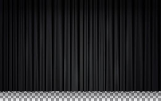 Black velvet curtain in theater or cinema