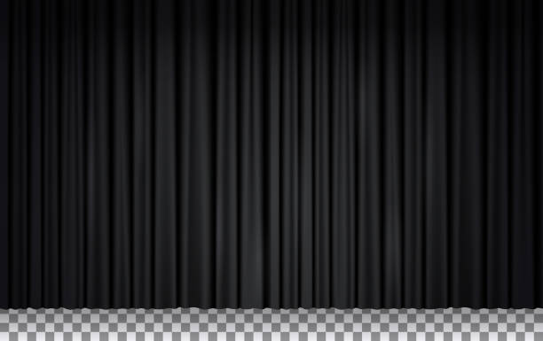 Black velvet curtain in theater or cinema Black velvet curtain in theater or cinema. Vector realistic closed stage curtains lighted by spotlight. Black fabric drapes in opera isolated on transparent background curtain stock illustrations