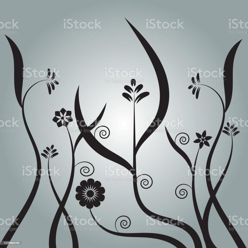 noir bush floral verticale avec le dessin bouclé - Illustration vectorielle