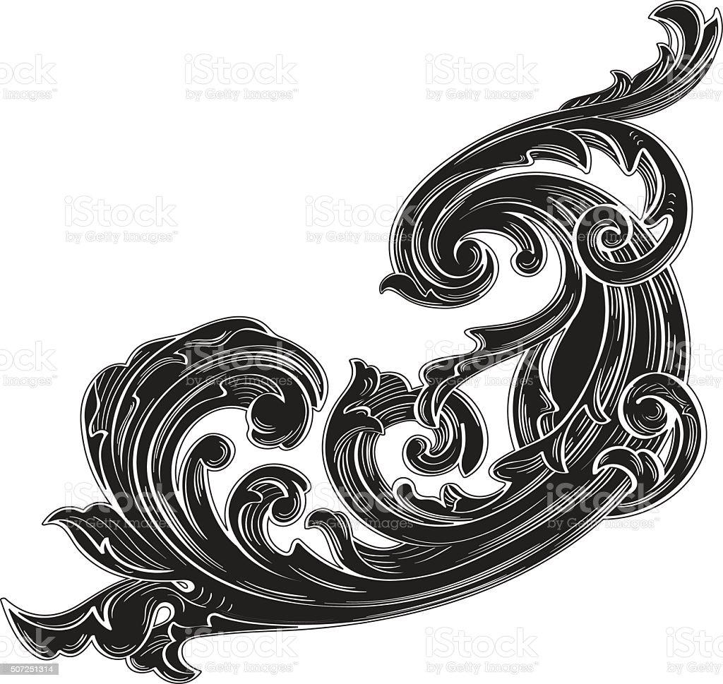 Black vintage acanthus vector art illustration