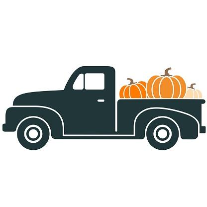 Black Vintage Pickup Truck with Pumpkins Vector