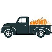 Fun, colorful, retro pickup truck carrying pumpkins vector illustration.