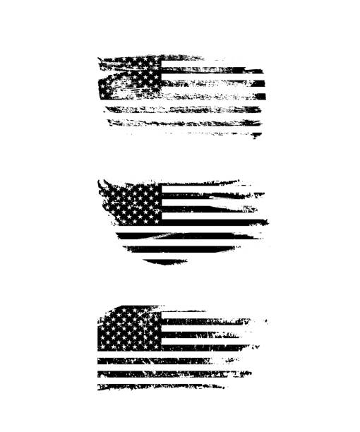 black vintage usa flags illustration. vector american flag on grunge texture set. - american flag stock illustrations