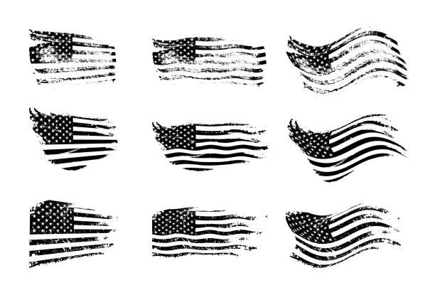 bildbanksillustrationer, clip art samt tecknat material och ikoner med svart vintage usa flaggor illustration. vector amerikanska flaggan på grunge textur uppsättning. - american flag