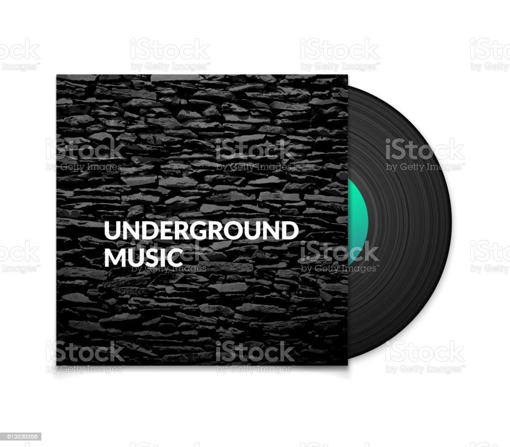 Black vintage vinyl record and black underground music cover case vector art illustration