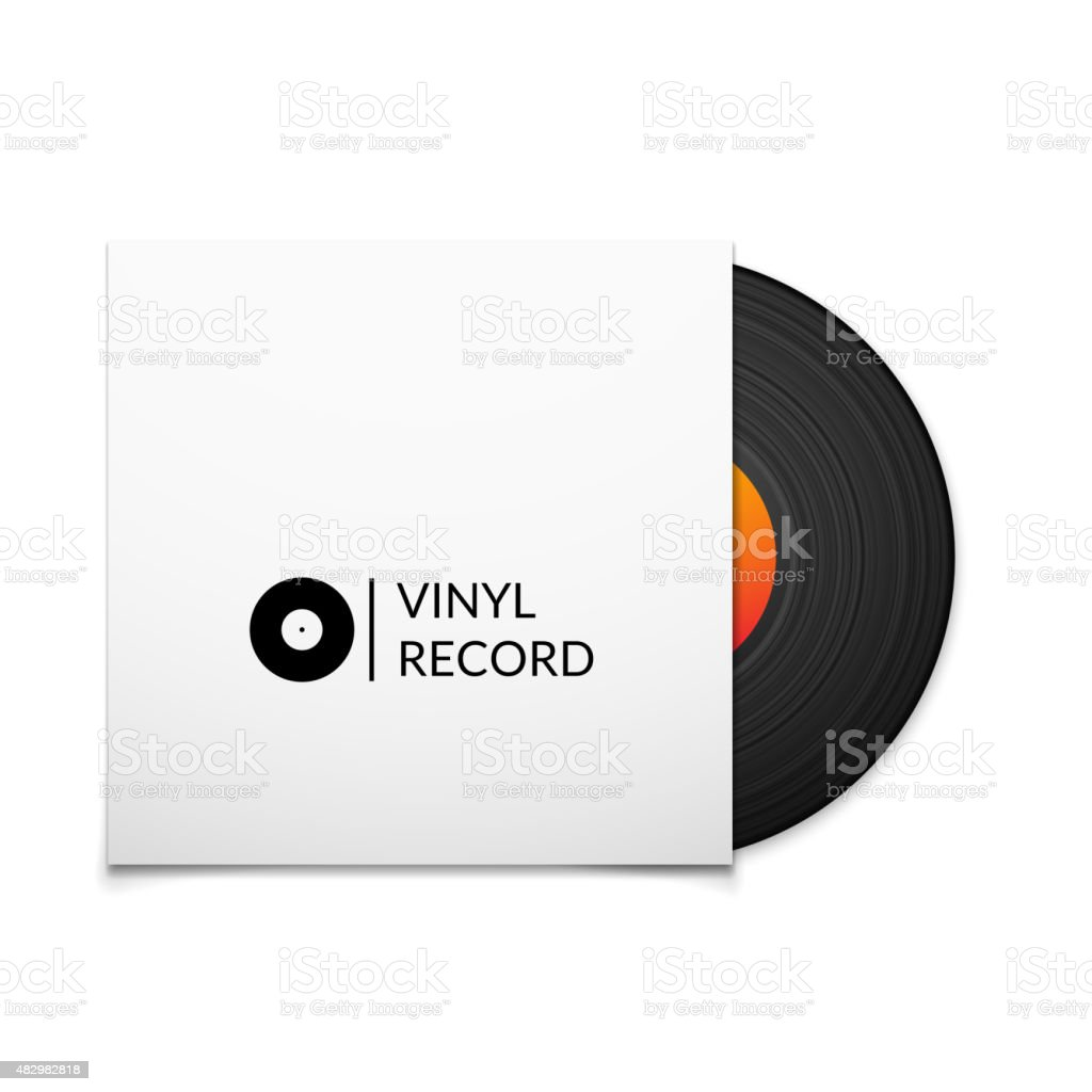 Black vintage vinyl record with blank cover case vector art illustration