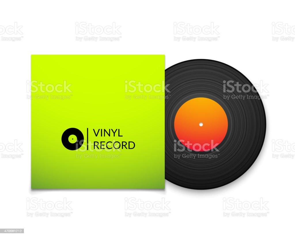 Black vintage vinyl record with blank green cover case vector art illustration