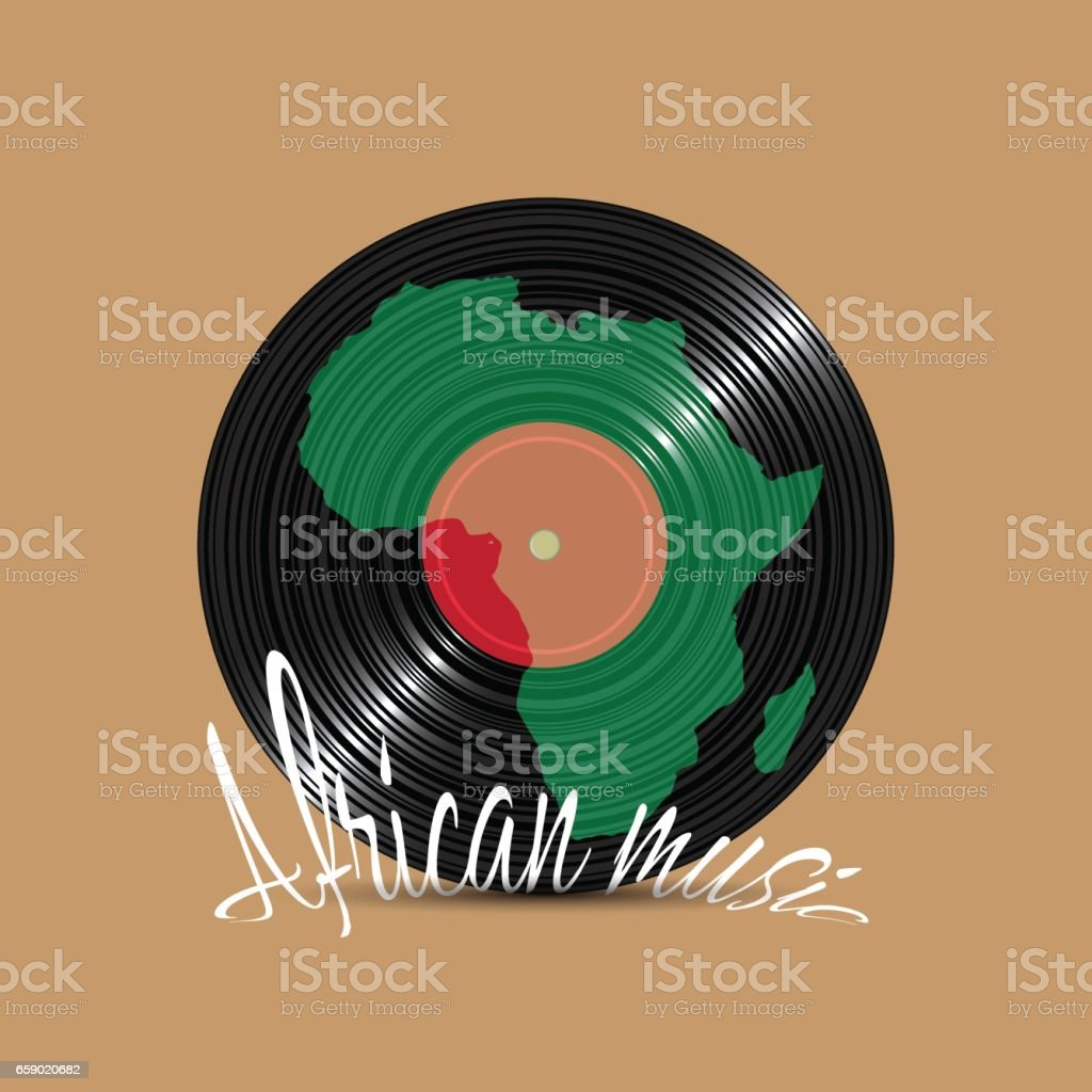 Black Vinyl disk with silhouette Africa royalty-free black vinyl disk with silhouette africa stock vector art & more images of art