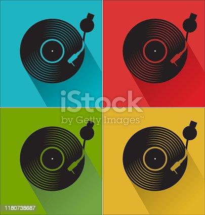istock Black vinyl record disc flat concept background 1180738687