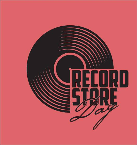 schwarzes vinyl record disc flache konzept vektor-illustration - schallplatte stock-grafiken, -clipart, -cartoons und -symbole