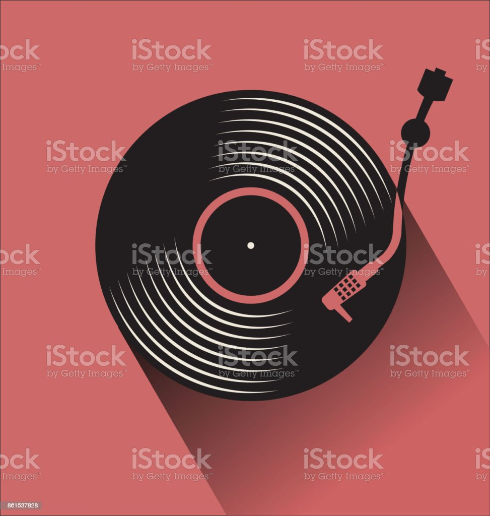 Black vinyl record disc flat concept vector illustration vector art illustration