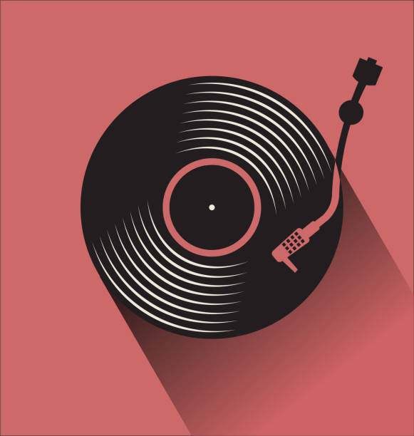 black vinyl record disc flat concept vector illustration - record analog audio stock illustrations
