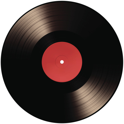 Black vinyl record with blank red label on white