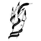 Black viper in hand. Vector hand drawn illustration. Tattoo sketch, t-shirt print, sticker design