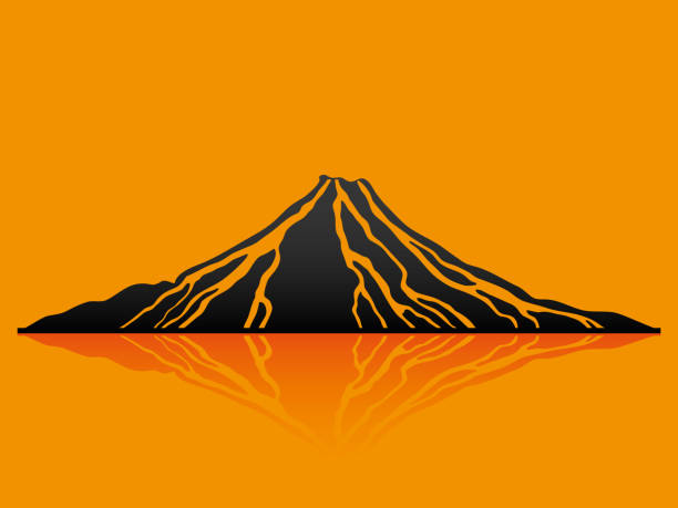 schwarzen vulkan sign. - vulkane stock-grafiken, -clipart, -cartoons und -symbole