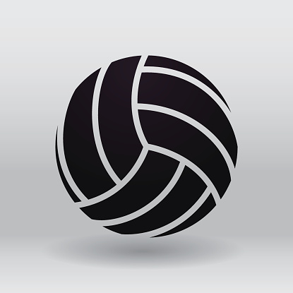 Black volleyball illustration against a grey background