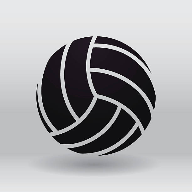 Black volleyball illustration against a grey background vector art illustration